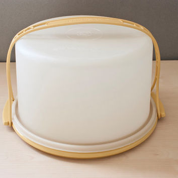 Vintage Large Tupperware Cake Carrier, Harvest Gold with Handle