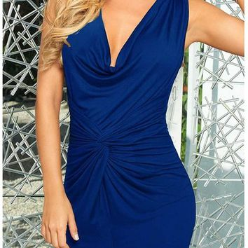 Blue Pleated Bodycon Deep V-neck Sleeveless Elegant Ruched Dress