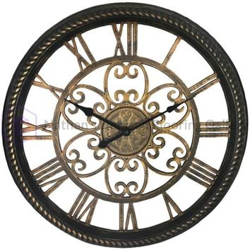 Westclox(R) 32949BK 19.5 Wall Clock with Antique Black and Gold Finish