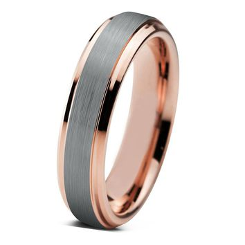 Tungsten Wedding Band Mens Wedding Ring Rose Gold Anniversary Band Grooms Ring 4mm Man Rose Gold Engagement Band Handmade His Hers Brushed 6mm 18k Rose Gold Ring Wedding Bands