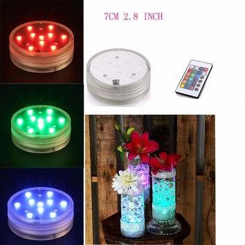 4PCS/lot Free Shipping Submersible Candle 24 Key Remote control floral tea Light Candle flashing Waterproof wedding party