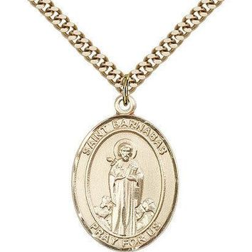 "Saint Barnabas Medal For Men - Gold Filled Necklace On 24"" Chain - 30 Day Mon... 617759354980"