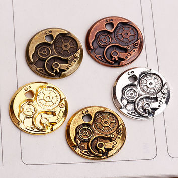 5 Color Steampunk Watches Clock Gears Charms for Jewelry Making DIY Handmade Vintage Clock Gears Pendant Charms 20pcs 24mm C7368