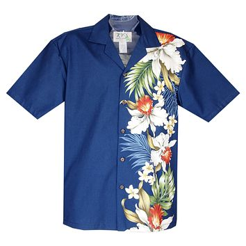 Orchid Plumeria Navy Vertical Border Hawaiian Shirt