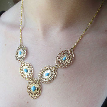 Gold and Turquoise Filigree Link Necklace