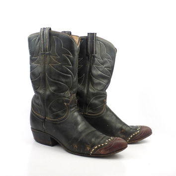 Brown Cowboy Boots Vintage 1970s Tony Lama Leather and Lizard Boots