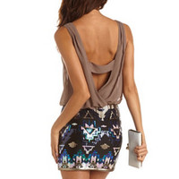 SEQUIN TRIBAL 2-FER DRESS
