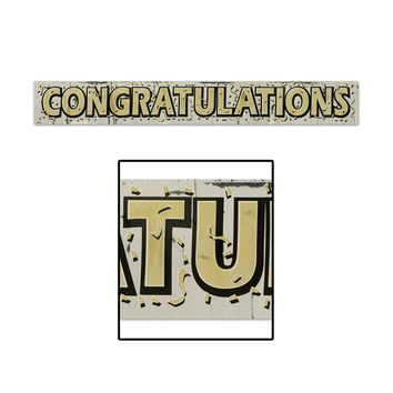"Metallic Congratulations Fringe Banner - gold lettering; 8"""" x 5' - Pack of 12"