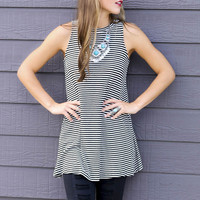 Made You Look Black & White Striped Ribbed Knit Sleeveless Tunic Dress