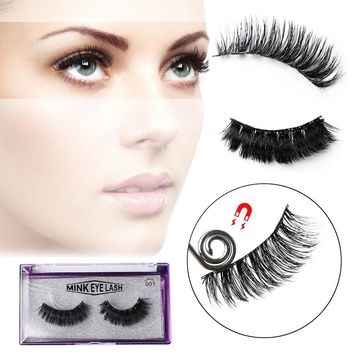SKONHED Hot Sale Fashion 4 Pcs Lashes /1 Pair 3D Full Strip Pure Mink Magnetic False Eyelashes Double Magnetic No Glue Lashes