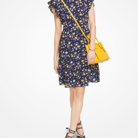 Floral Crepe Flounce-Sleeve Dress | Michael Kors