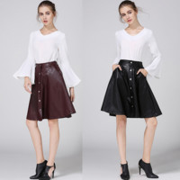 Fashion Simple Solid Color Single Row Buckle Leather Skirt