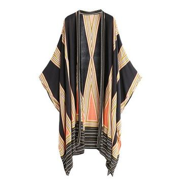 Multicolor Vintage Geo Print Casual Summer Tops Fashion New Loose Beach Long Sleeve Kimono