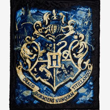 "Licensed cool Harry Potter Hogwarts Crest Faux Mink Sherpa Throw Super Soft Blanket 50""x60"""