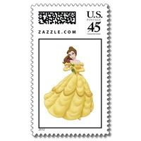 Beauty and the Beast Belle gown holding flower Stamp from Zazzle.com