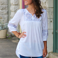 Embroidered Tribal Tunic {Off White}