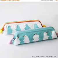 Xmas Sale 15% Penguin Pencil Case, Makeup Bag, Cosmetic Bag, Small Zippered bag, Frame Purse, Back to School Supply