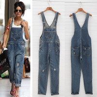 Womens Ladies Baggy Denim Jeans Full Length Pinafore Dungaree Overall Jumpsuit AP = 5658815297