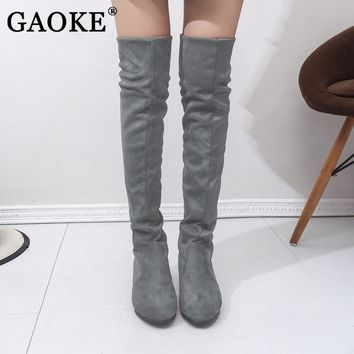 GAOKE Woman's High Boots Shoes Fashion Women Over The Knee High Boots Autumn Winter Bota Feminina Thigh High Boots