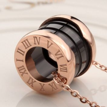 Necklace with ceramic characters printed titanium steel collar decoration fashion classic not easy to fade European and American clavicle chain