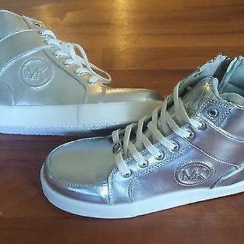 MICHAEL KORS Girls Cali Shelby 2 PEWTER Sneakers Shoes High Top Size 4