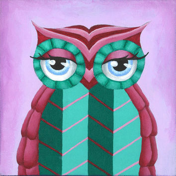 Owl decor, print of acrylic painting, colorful owl art, 8 x 8 art print