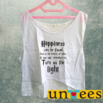 Women's Crop Tank - Harry Potter Quotes Happiness Can be Found Even in The Darkest of Times If One Remembers Design