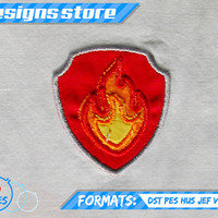 Paw Patrol Applique Design MARSHALL BADGE EMBROIDERY pattern