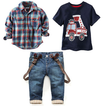 2016 Children's clothing sets for spring Baby boy suit Long sleeve plaid shirts+car printing t-shirt+jeans 3pcs suit set
