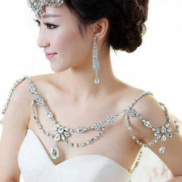 Wedding Dress Shoulder Necklace, Bridal Rhinestone Beaded Shoulder Chain Jewellry, Bridal Epaulettes,Shoulder Neck Cover, Body Jewellries