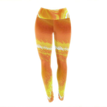 "Oriana Cordero ""Sahara"" Orange Yellow Yoga Leggings"
