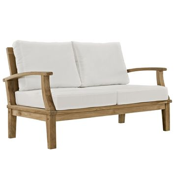 Marina Outdoor Patio Teak Loveseat Natural White EEI-1144-NAT-WHI-SET