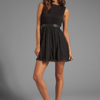 Alice + Olivia Foss Blouson Flare Skirt Dress With Leather in Black from REVOLVEclothing.com