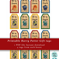 Harry Potter Gift Tags, Hogwarts gift tags, gryffindor, hufflepuff, ravenclaw, slytherin gift tags,