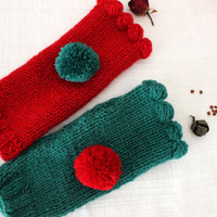 Green Gloves, Knit Mittens, Hand Warmer,Winter Gloves,Gloves,Long Knitted Gloves,Women gloves, Arm Warmers, Gloves, Bundle, Christmas Gloves