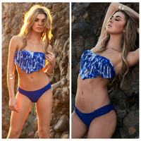 Blue Fringed Bandeau and Ruched Bottom Bikini