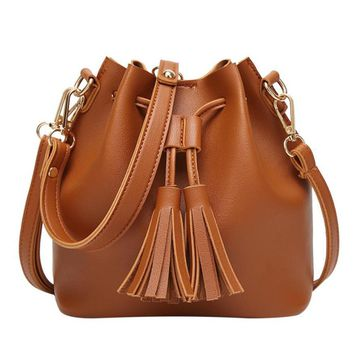 Naivety Women PU Leather Tassel Handbag Solid Bucket Bag Crossbody Shoulder Messenger Purse Fashion 28S7714 drop shipping