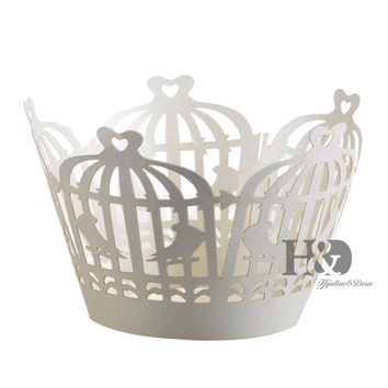 120PCS Ivory Hollow Laser Cut Birdcage Muffin Paper Cupcake Box Wrappers Wraps Cases Wedding hawaiian Party Favors Decoration