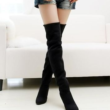Nubuck Stovepipe long boots Over the Knee high heels