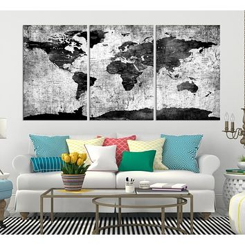 Black World Map Wall Art Canvas Print Large Wall Art Push Pin World Travel Map
