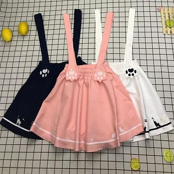 Japanese Lolita Embroidery Cat Cartoon Anime Kawaii Vintage College Suspenders Skirt Harness Vestido Student Uniform Mini Skirts