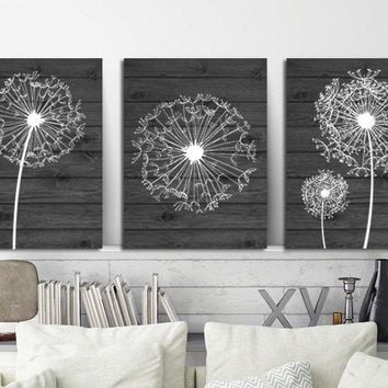 DANDELION WALL ART, Charcoal Gray Bedroom Wall Art, Dandelion Canvas or Prints, Charcoal Bathroom Decor, Dandelion Wood Wall Decor, Set of 3