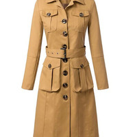 Khaki Shirt Collar Long Sleeve Pocket Belted Long Trench Coat