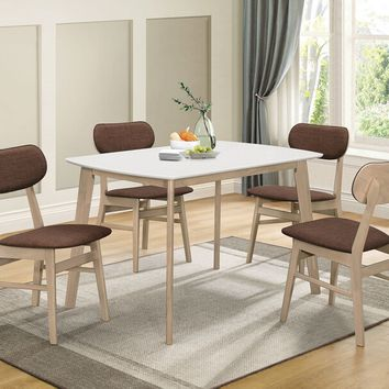 Acme 74680-84 5 pc Rosetta II white top and white wash finish wood dining table set