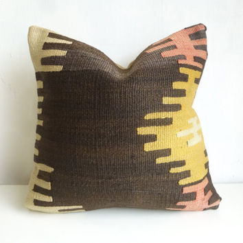 Brown & Yellow Ethnic Kilim pillow cover