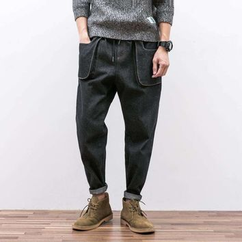 Design Japanese Line Drawn Rope Jeans Men'S Feet Easy To Restore The Three-Dimensional Pocket Of Young Haren Pants