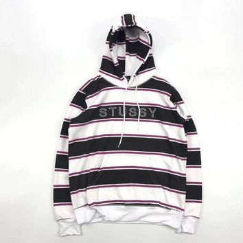 ESBONS Stussy Woman Men Fashion Stripe Hoodie Top Sweater Pullover
