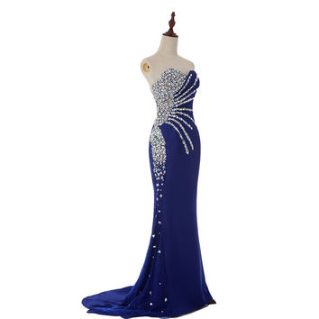 Abendkleid  New Fashion Real Sample Sweetheart Mermaid Royal Blue Chiffon Long Evening Dress Beading Prom Dresses