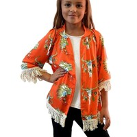 Girls Bull Skull Cardigan, Orange