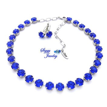 Swarovski® Crystal Necklace, 10mm (45ss) Chatons, MAJESTIC BLUE, Royal Navy Blue, Assorted Finishes, Optional Matching Earrings